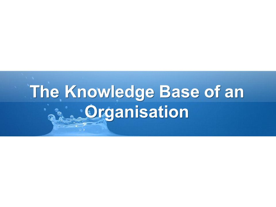 The Knowledge Base of an Organisation
