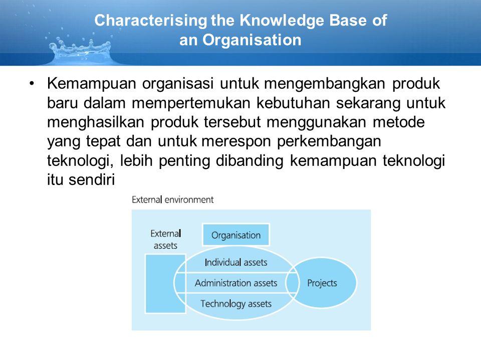 Characterising the Knowledge Base of an Organisation •Kemampuan organisasi untuk mengembangkan produk baru dalam mempertemukan kebutuhan sekarang untuk menghasilkan produk tersebut menggunakan metode yang tepat dan untuk merespon perkembangan teknologi, lebih penting dibanding kemampuan teknologi itu sendiri