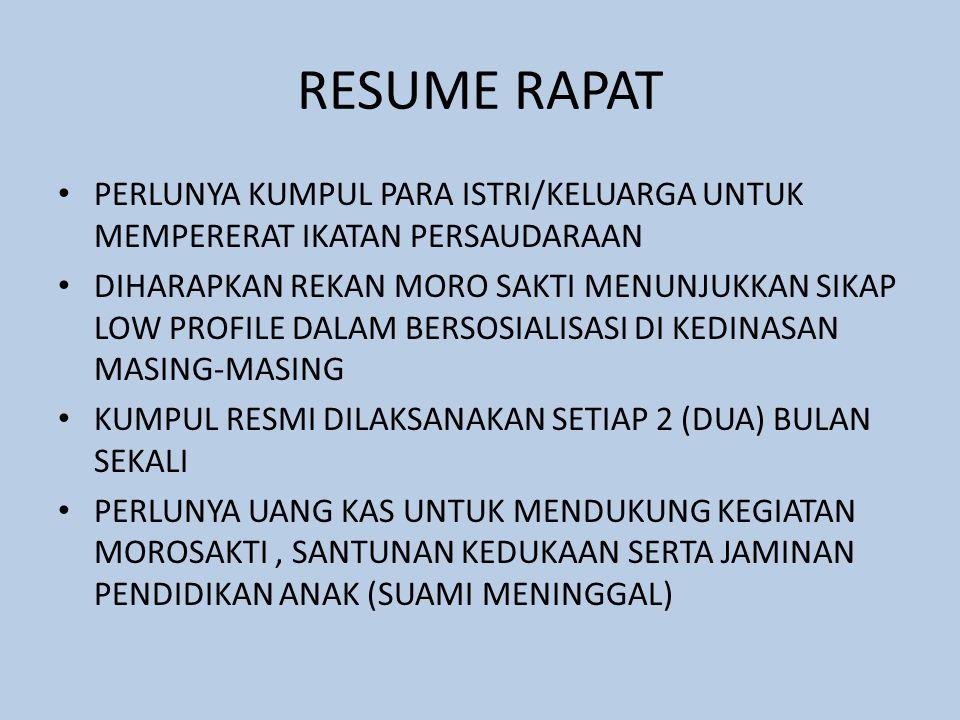 RESUME RAPAT • DISEPAKATI IURAN MINIMAL WAJIB SEBESAR Rp.