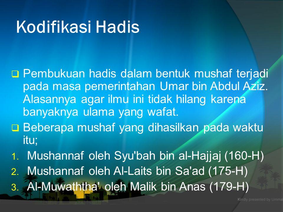  Periwayat hadis menyebar ke berbagai wilayah; Madinah, Makah, Mesir, Basyrah, Syam, dan Yaman.