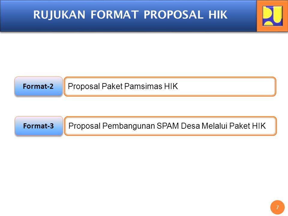 7 7 RUJUKAN FORMAT PROPOSAL HIK Format-2 Proposal Paket Pamsimas HIK Format-3 Proposal Pembangunan SPAM Desa Melalui Paket HIK