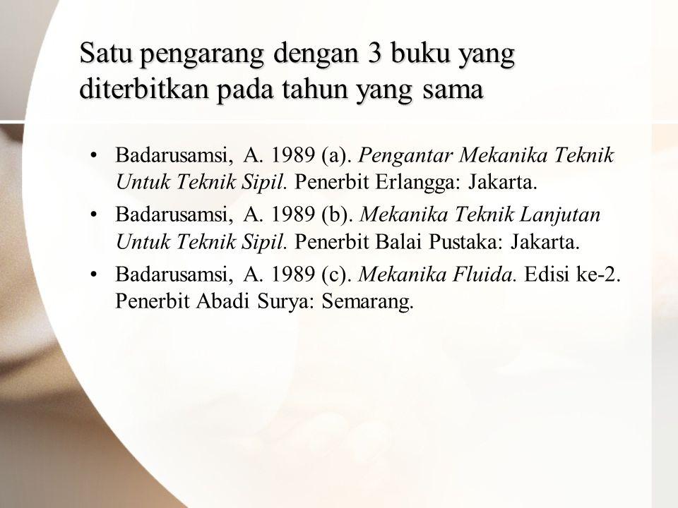 Satu pengarang dengan 3 buku yang diterbitkan pada tahun yang sama •Badarusamsi, A.