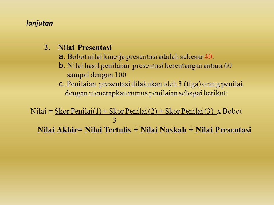 3.Nilai Presentasi a. Bobot nilai kinerja presentasi adalah sebesar 40. b. Nilai hasil penilaian presentasi berentangan antara 60 sampai dengan 100 c.