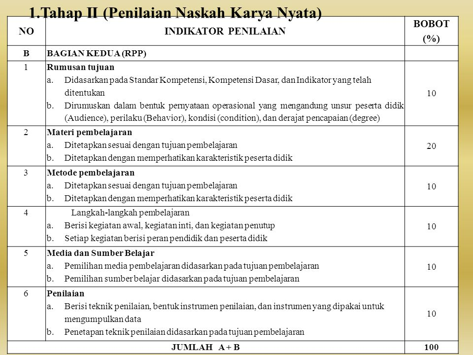 NOINDIKATOR PENILAIAN BOBOT (%) BBAGIAN KEDUA (RPP) 1 Rumusan tujuan a.Didasarkan pada Standar Kompetensi, Kompetensi Dasar, dan Indikator yang telah