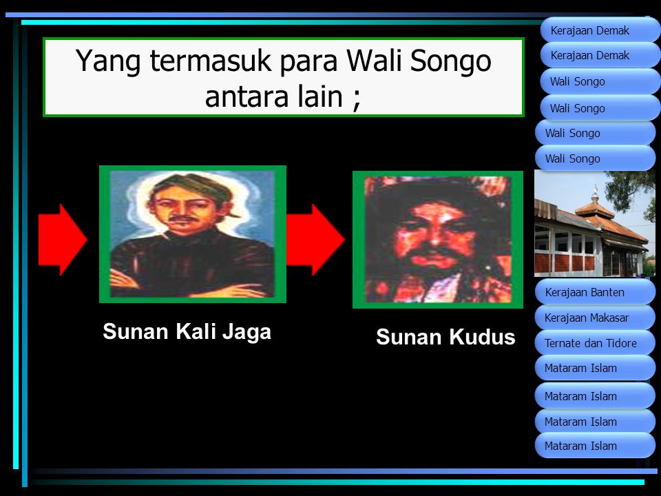 Yang termasuk para Wali Songo antara lain ; Sunan Kali Jaga Sunan Kudus Wali Songo Kerajaan Makasar Ternate dan Tidore Kerajaan Banten Mataram Islam K