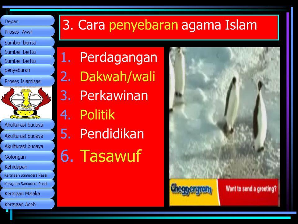 3. Cara penyebaran agama Islam 1.Perdagangan 2.Dakwah/wali 3.Perkawinan 4.Politik 5.Pendidikan 6.Tasawuf Kerajaan Aceh Proses Awal Proses Awal Sumber