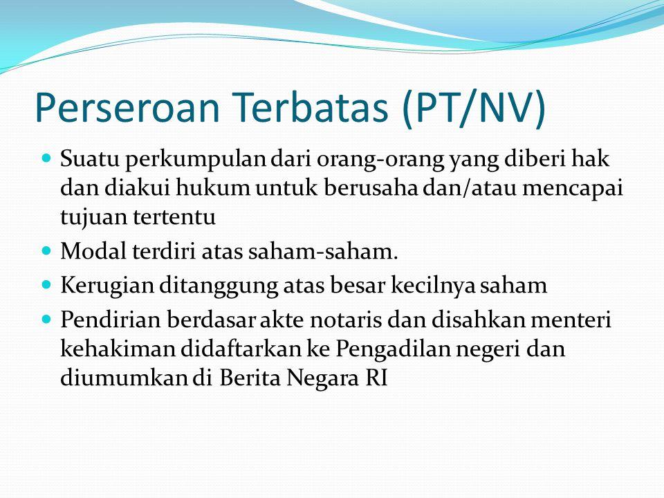Perseroan Terbatas (PT/NV)  Suatu perkumpulan dari orang-orang yang diberi hak dan diakui hukum untuk berusaha dan/atau mencapai tujuan tertentu  Mo