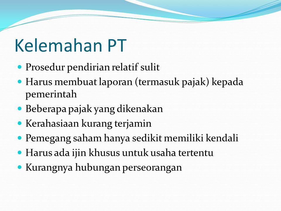 Kelemahan PT  Prosedur pendirian relatif sulit  Harus membuat laporan (termasuk pajak) kepada pemerintah  Beberapa pajak yang dikenakan  Kerahasia
