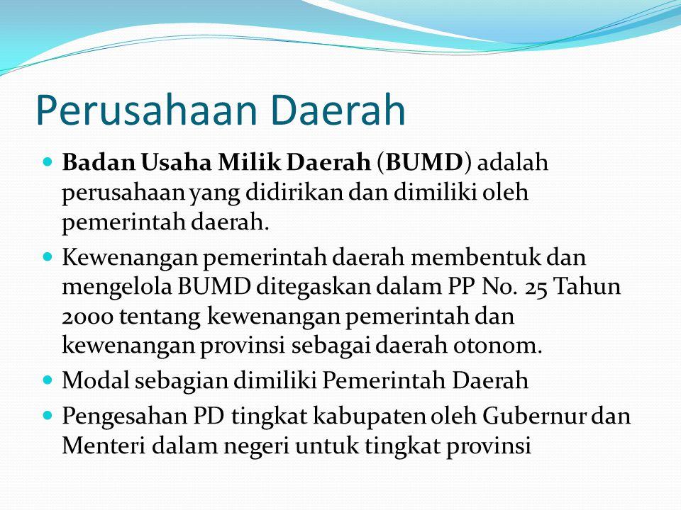 Perusahaan Daerah  Badan Usaha Milik Daerah (BUMD) adalah perusahaan yang didirikan dan dimiliki oleh pemerintah daerah.  Kewenangan pemerintah daer