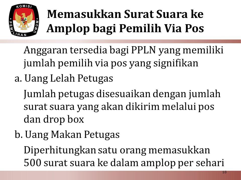 Memasukkan Surat Suara ke Amplop bagi Pemilih Via Pos Anggaran tersedia bagi PPLN yang memiliki jumlah pemilih via pos yang signifikan a. Uang Lelah P