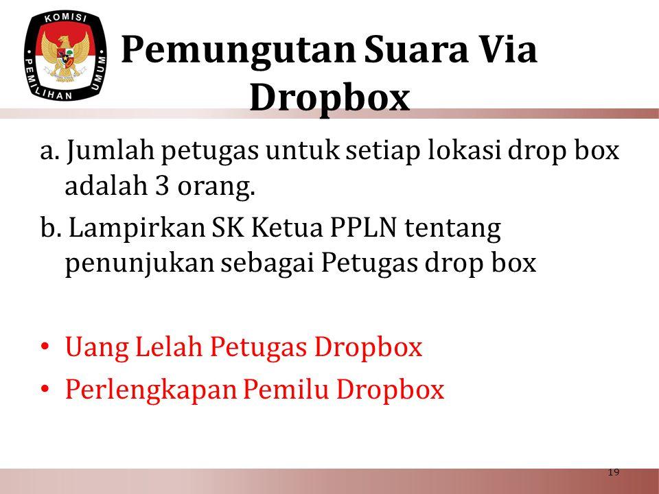 Pemungutan Suara Via Dropbox a. Jumlah petugas untuk setiap lokasi drop box adalah 3 orang. b. Lampirkan SK Ketua PPLN tentang penunjukan sebagai Petu