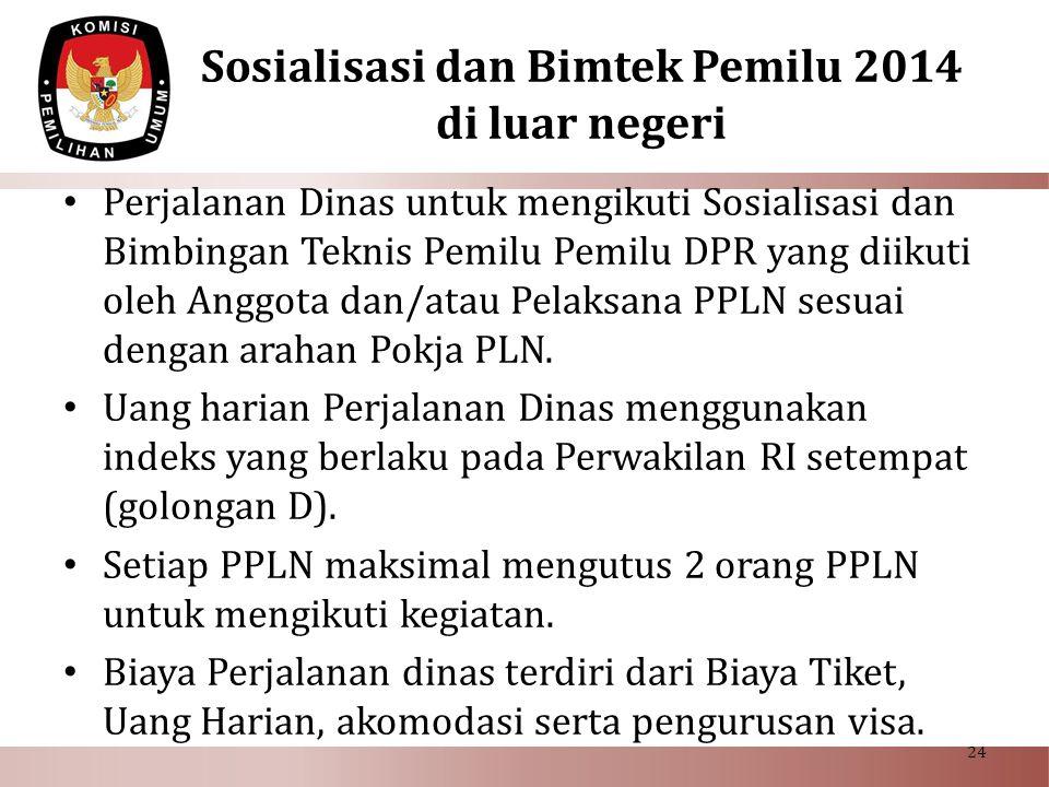 Sosialisasi dan Bimtek Pemilu 2014 di luar negeri • Perjalanan Dinas untuk mengikuti Sosialisasi dan Bimbingan Teknis Pemilu Pemilu DPR yang diikuti o