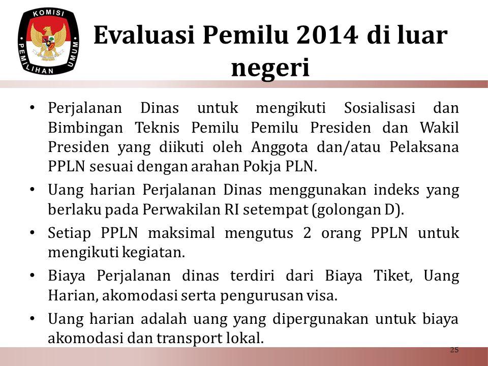 Evaluasi Pemilu 2014 di luar negeri • Perjalanan Dinas untuk mengikuti Sosialisasi dan Bimbingan Teknis Pemilu Pemilu Presiden dan Wakil Presiden yang