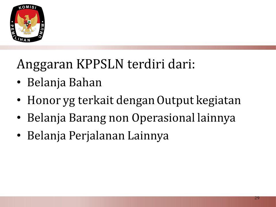 Anggaran KPPSLN terdiri dari: • Belanja Bahan • Honor yg terkait dengan Output kegiatan • Belanja Barang non Operasional lainnya • Belanja Perjalanan