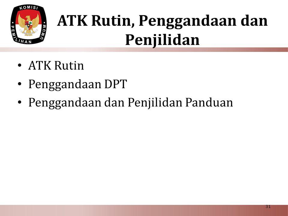 ATK Rutin, Penggandaan dan Penjilidan • ATK Rutin • Penggandaan DPT • Penggandaan dan Penjilidan Panduan 31