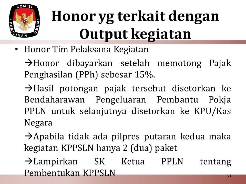 Honor yg terkait dengan Output kegiatan • Honor Tim Pelaksana Kegiatan  Honor dibayarkan setelah memotong Pajak Penghasilan (PPh) sebesar 15%.  Hasi