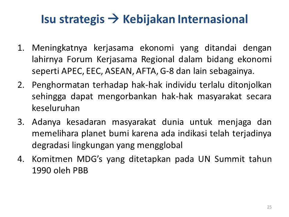 Isu strategis  Kebijakan Internasional 1.Meningkatnya kerjasama ekonomi yang ditandai dengan lahirnya Forum Kerjasama Regional dalam bidang ekonomi s
