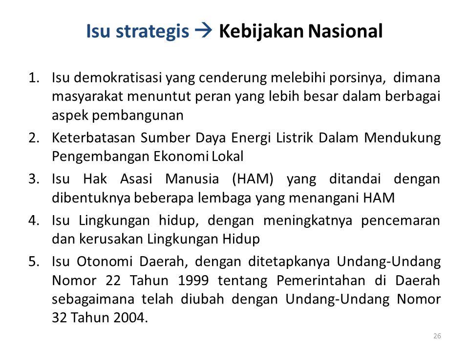Isu strategis  Kebijakan Nasional 1.Isu demokratisasi yang cenderung melebihi porsinya, dimana masyarakat menuntut peran yang lebih besar dalam berba