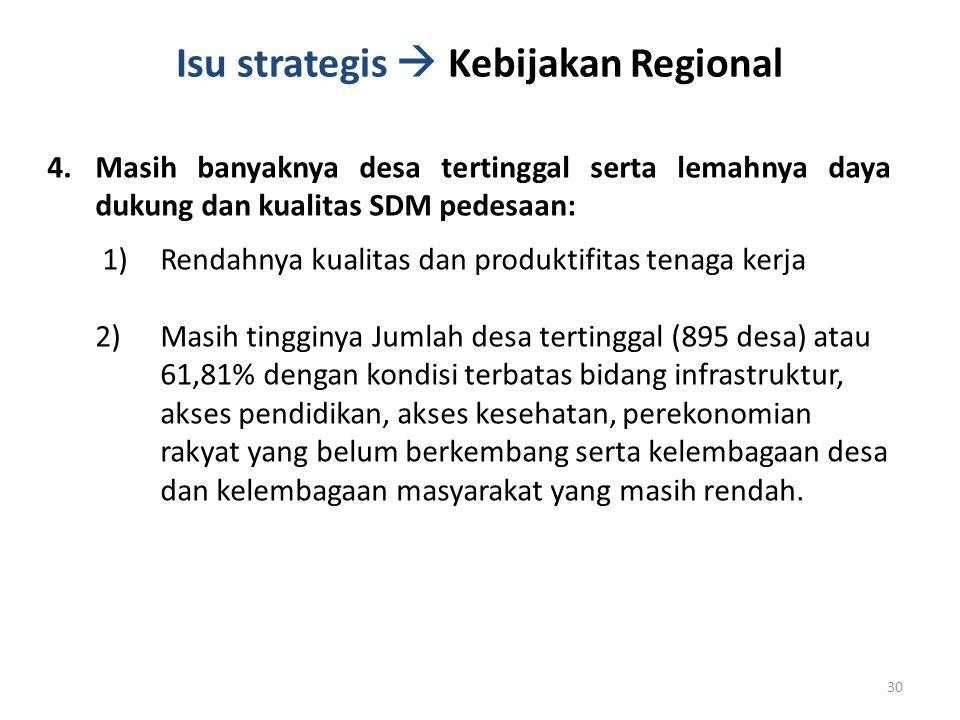 Isu strategis  Kebijakan Regional 4.Masih banyaknya desa tertinggal serta lemahnya daya dukung dan kualitas SDM pedesaan: 1)Rendahnya kualitas dan pr