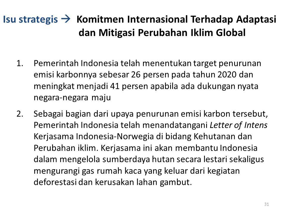 Isu strategis  Komitmen Internasional Terhadap Adaptasi dan Mitigasi Perubahan Iklim Global 1.Pemerintah Indonesia telah menentukan target penurunan