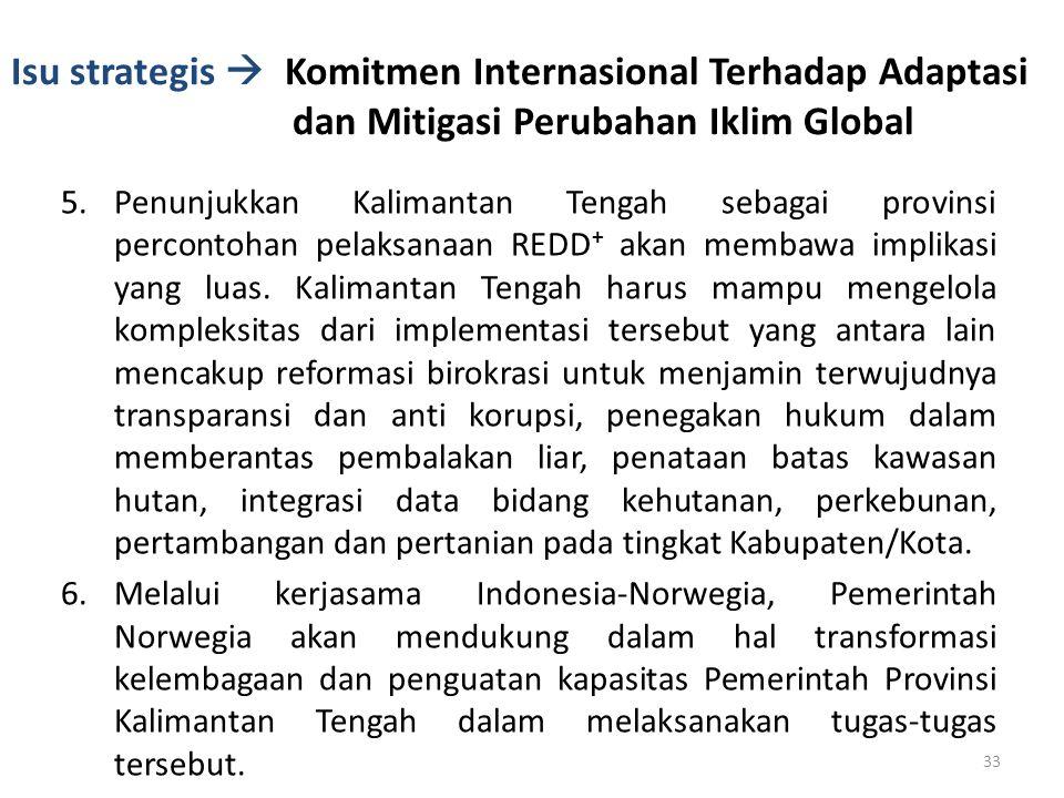 Isu strategis  Komitmen Internasional Terhadap Adaptasi dan Mitigasi Perubahan Iklim Global 5.Penunjukkan Kalimantan Tengah sebagai provinsi perconto