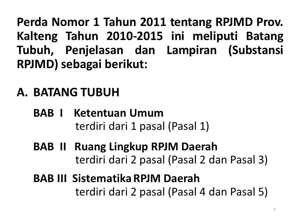 Perda Nomor 1 Tahun 2011 tentang RPJMD Prov. Kalteng Tahun 2010-2015 ini meliputi Batang Tubuh, Penjelasan dan Lampiran (Substansi RPJMD) sebagai beri