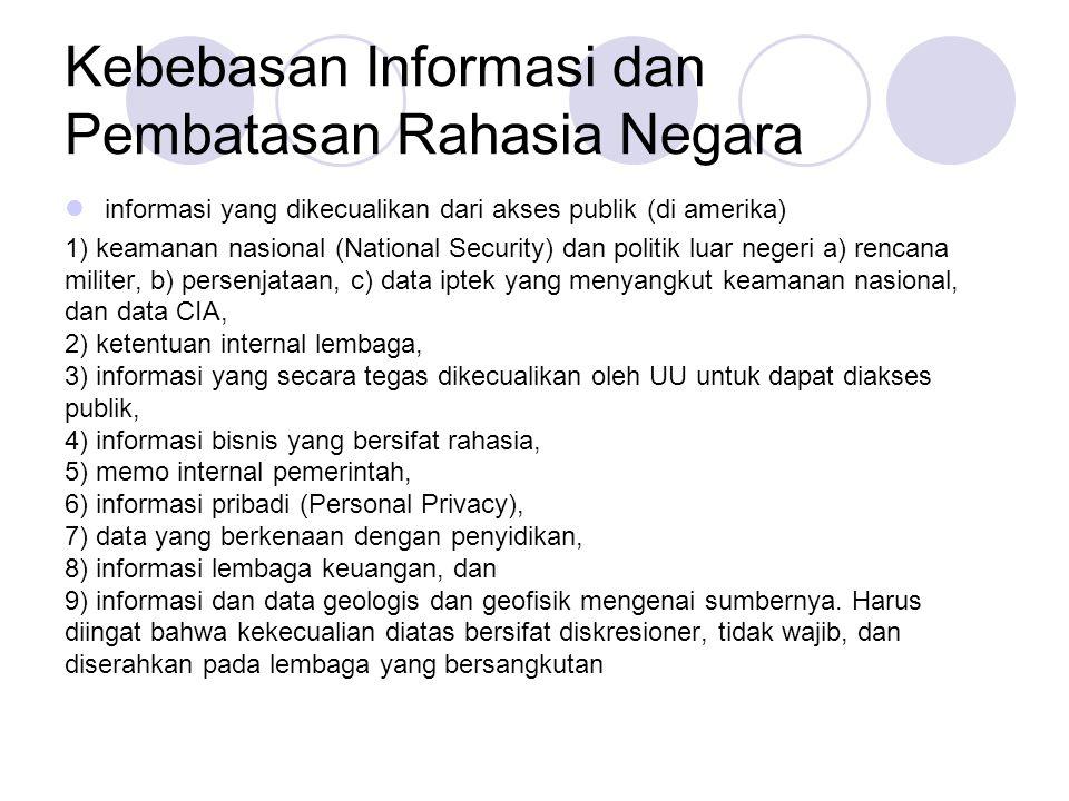 Kebebasan Informasi dan Pembatasan Rahasia Negara  informasi yang dikecualikan dari akses publik (di amerika) 1) keamanan nasional (National Security