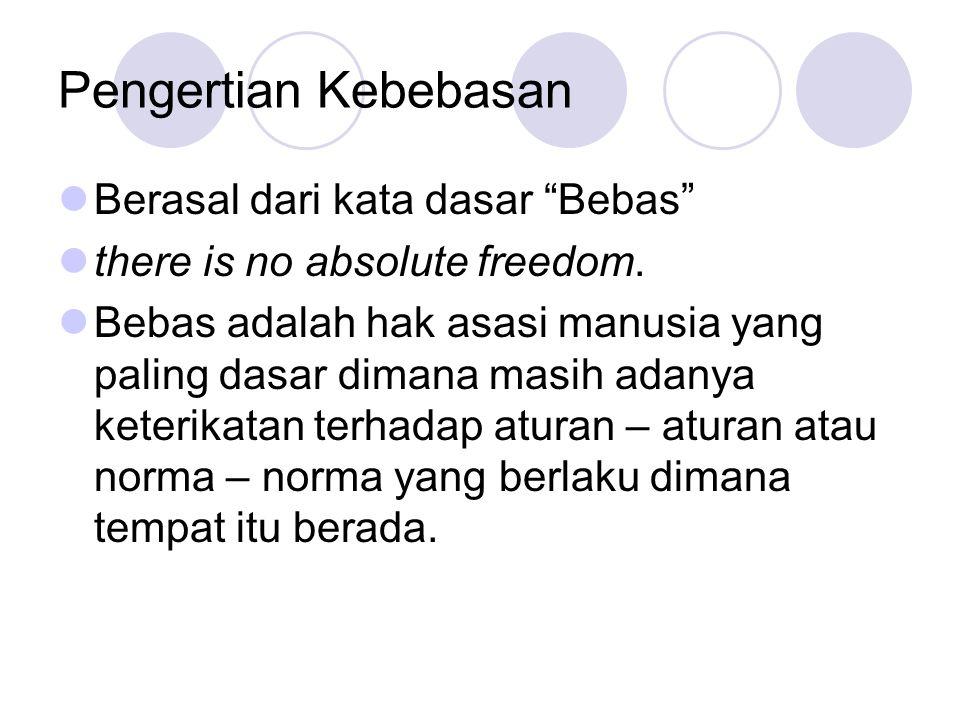 """Pengertian Kebebasan  Berasal dari kata dasar """"Bebas""""  there is no absolute freedom.  Bebas adalah hak asasi manusia yang paling dasar dimana masih"""