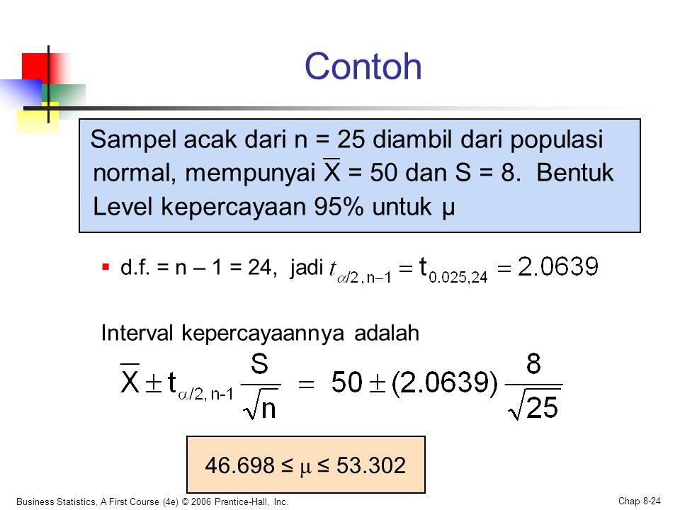 Business Statistics, A First Course (4e) © 2006 Prentice-Hall, Inc. Chap 8-24 Contoh Sampel acak dari n = 25 diambil dari populasi normal, mempunyai X
