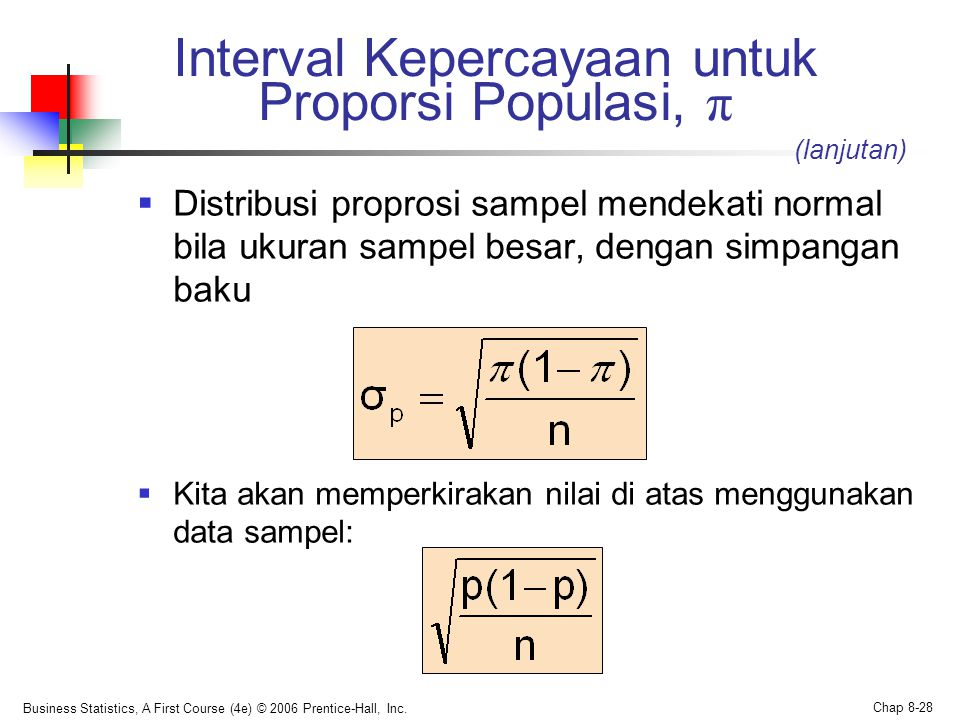 Business Statistics, A First Course (4e) © 2006 Prentice-Hall, Inc. Chap 8-28 Interval Kepercayaan untuk Proporsi Populasi, π  Distribusi proprosi sa