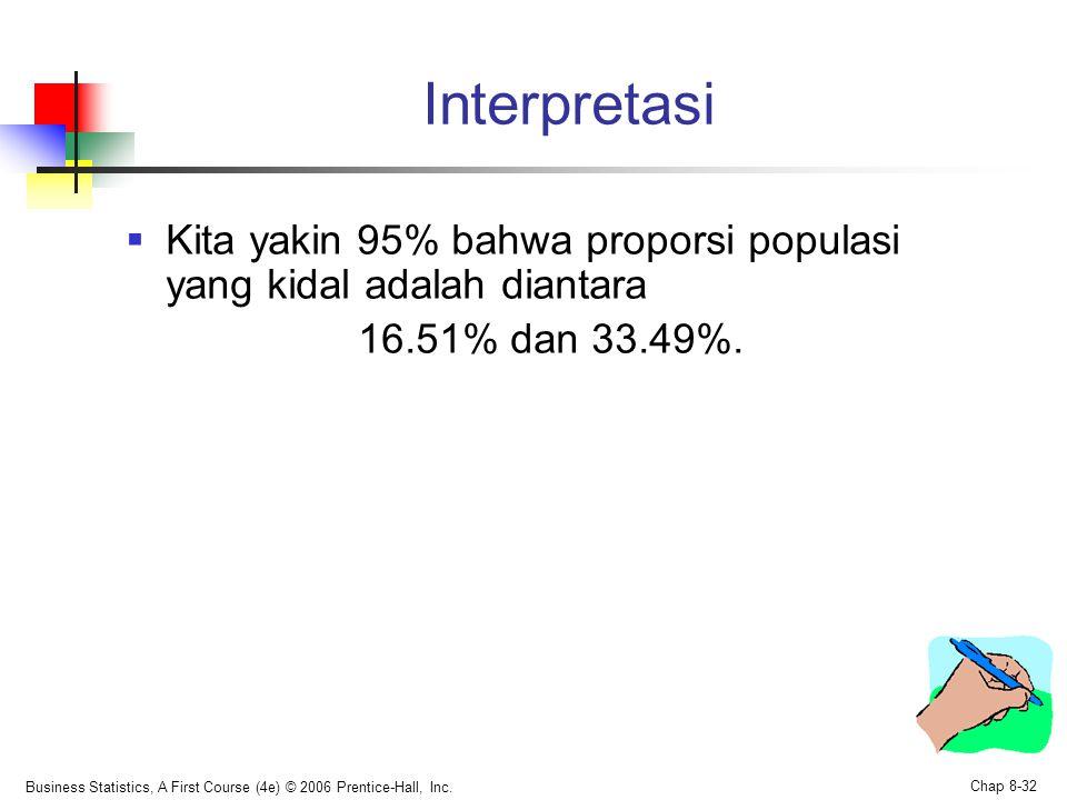 Business Statistics, A First Course (4e) © 2006 Prentice-Hall, Inc. Chap 8-32 Interpretasi  Kita yakin 95% bahwa proporsi populasi yang kidal adalah
