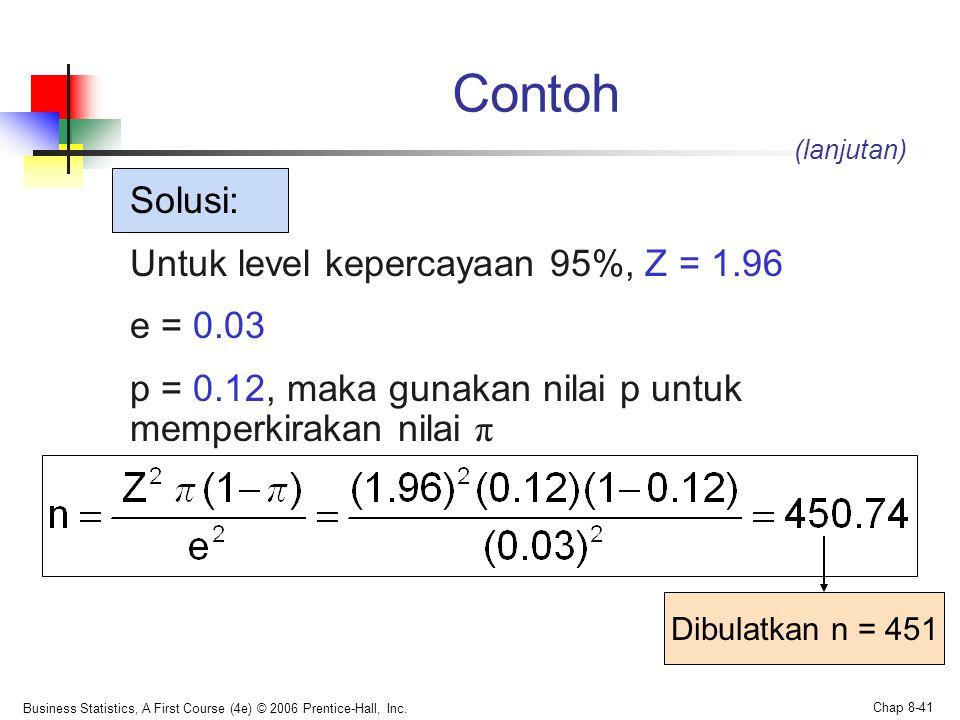 Business Statistics, A First Course (4e) © 2006 Prentice-Hall, Inc. Chap 8-41 Contoh Solusi: Untuk level kepercayaan 95%, Z = 1.96 e = 0.03 p = 0.12,