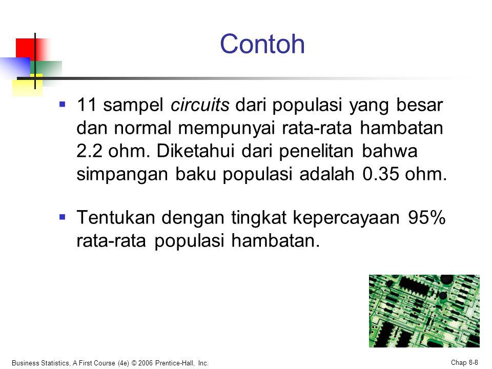 Business Statistics, A First Course (4e) © 2006 Prentice-Hall, Inc. Chap 8-8 Contoh  11 sampel circuits dari populasi yang besar dan normal mempunyai