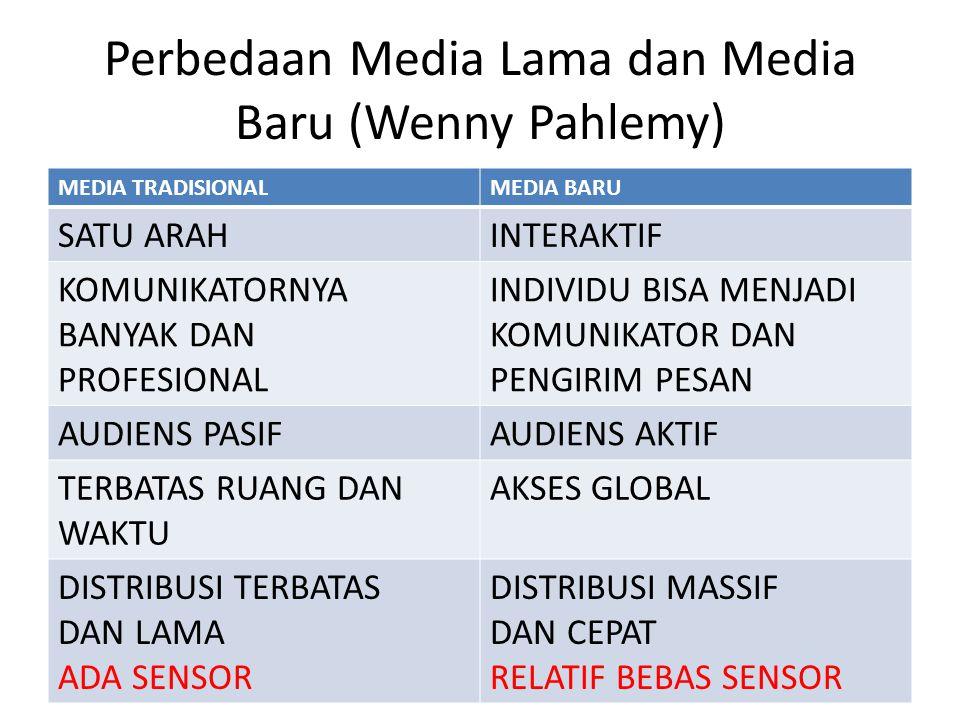 Perbedaan Media Lama dan Media Baru (Wenny Pahlemy) MEDIA TRADISIONALMEDIA BARU SATU ARAHINTERAKTIF KOMUNIKATORNYA BANYAK DAN PROFESIONAL INDIVIDU BISA MENJADI KOMUNIKATOR DAN PENGIRIM PESAN AUDIENS PASIFAUDIENS AKTIF TERBATAS RUANG DAN WAKTU AKSES GLOBAL DISTRIBUSI TERBATAS DAN LAMA ADA SENSOR DISTRIBUSI MASSIF DAN CEPAT RELATIF BEBAS SENSOR