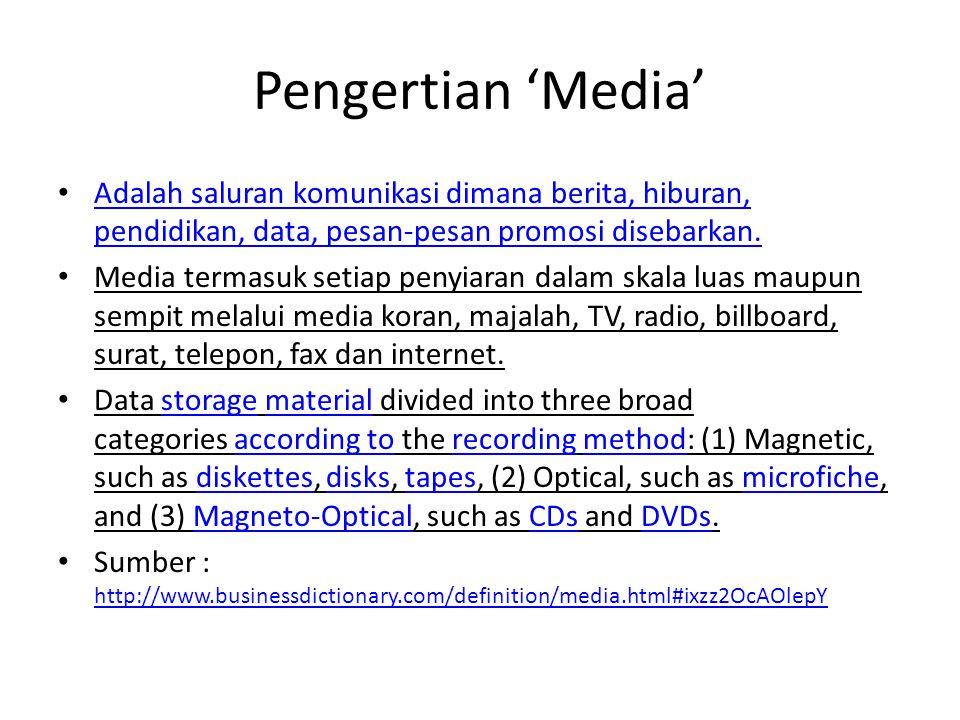Pengertian 'Media' • Adalah saluran komunikasi dimana berita, hiburan, pendidikan, data, pesan-pesan promosi disebarkan.