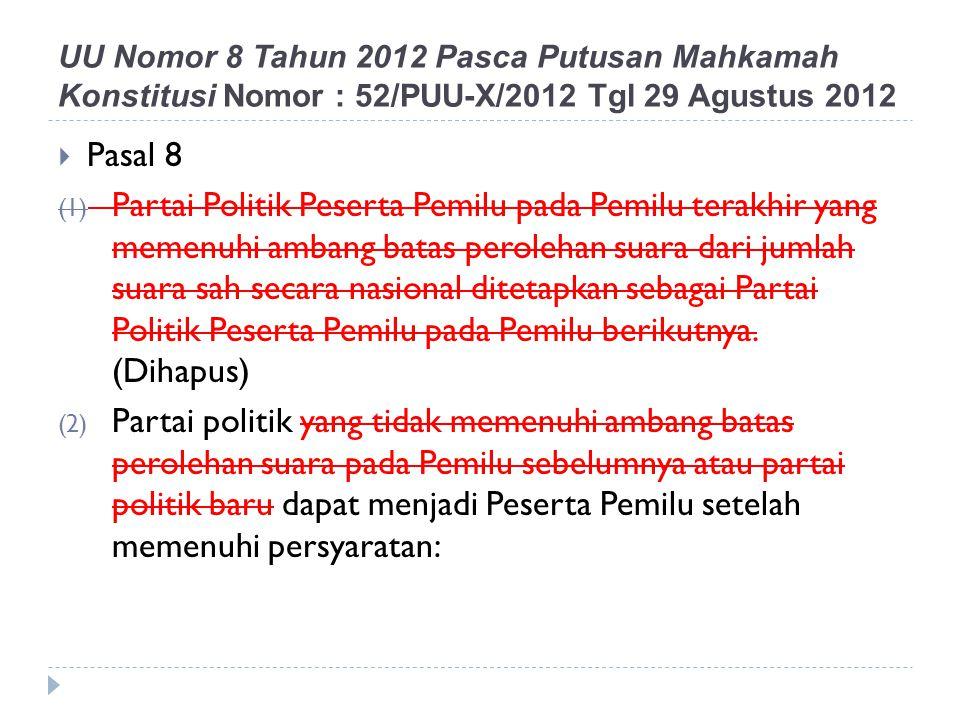  Pasal 8 (1) Partai Politik Peserta Pemilu pada Pemilu terakhir yang memenuhi ambang batas perolehan suara dari jumlah suara sah secara nasional dite