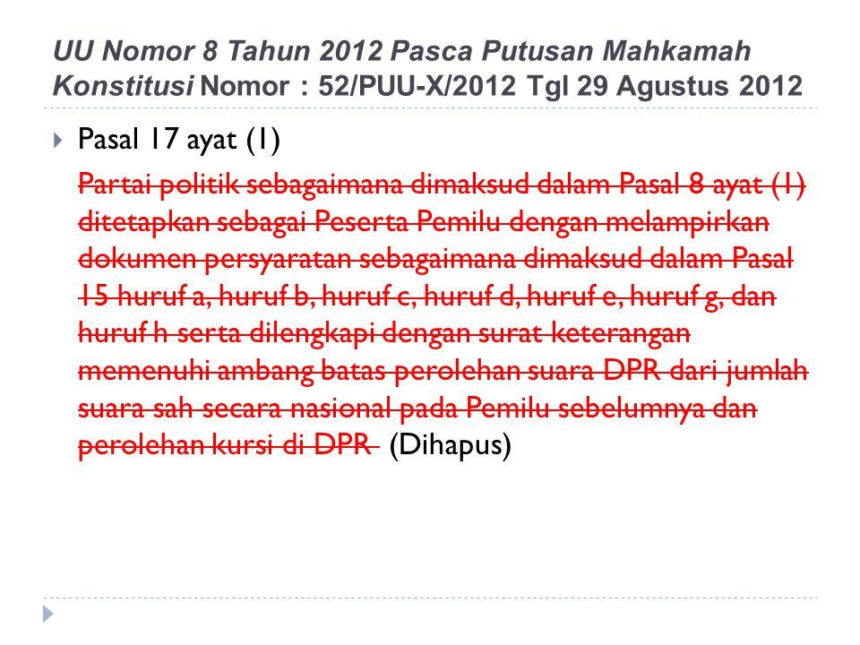 Pasal 17 ayat (1) Partai politik sebagaimana dimaksud dalam Pasal 8 ayat (1) ditetapkan sebagai Peserta Pemilu dengan melampirkan dokumen persyarata