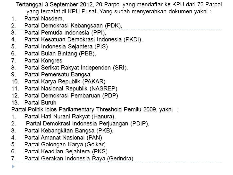 Tertanggal 3 September 2012, Tertanggal 3 September 2012, 20 Parpol yang mendaftar ke KPU dari 73 Parpol yang tercatat di KPU Pusat. Yang sudah menyer