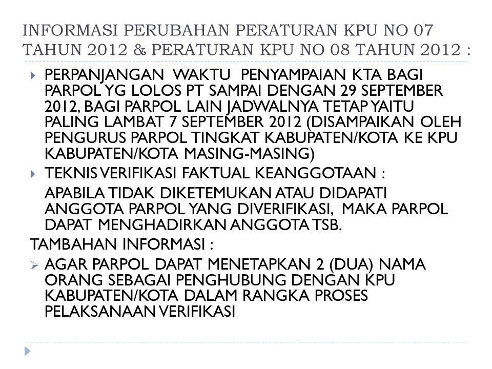 INFORMASI PERUBAHAN PERATURAN KPU NO 07 TAHUN 2012 & PERATURAN KPU NO 08 TAHUN 2012 :  PERPANJANGAN WAKTU PENYAMPAIAN KTA BAGI PARPOL YG LOLOS PT SAM