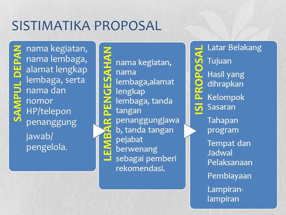 SISTIMATIKA PROPOSAL SAMPUL DEPAN nama kegiatan, nama lembaga, alamat lengkap lembaga, serta nama dan nomor HP/telepon penanggung jawab/ pengelola. LE