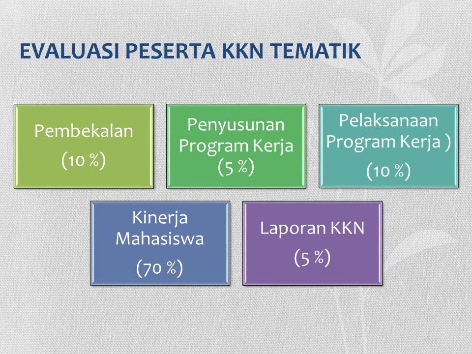 EVALUASI PESERTA KKN TEMATIK Pembekalan (10 %) Penyusunan Program Kerja (5 %) Pelaksanaan Program Kerja ) (10 %) Kinerja Mahasiswa (70 %) Laporan KKN
