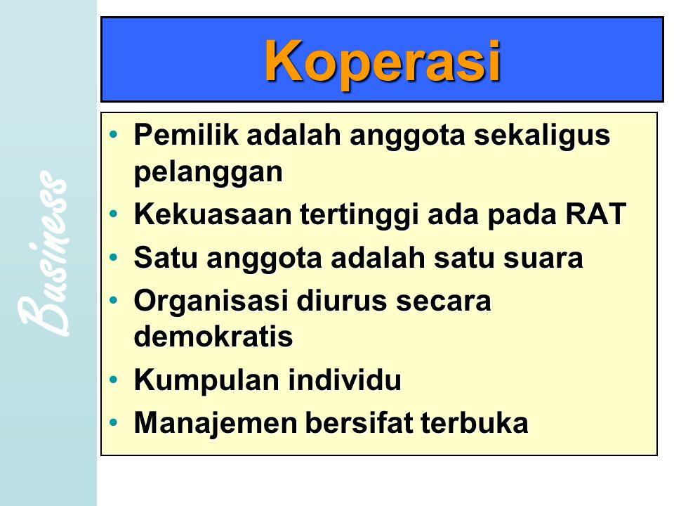Business Koperasi •P•P•P•Pemilik adalah anggota sekaligus pelanggan •K•K•K•Kekuasaan tertinggi ada pada RAT •S•S•S•Satu anggota adalah satu suara •O•O