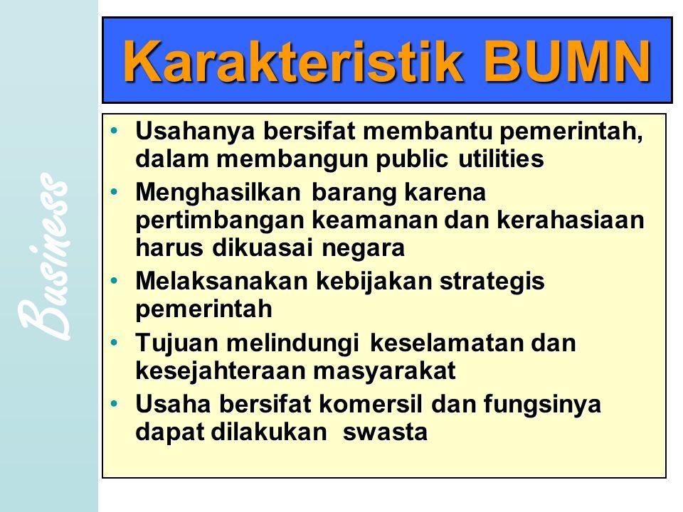 Business Karakteristik BUMN •U•U•U•Usahanya bersifat membantu pemerintah, dalam membangun public utilities •M•M•M•Menghasilkan barang karena pertimbangan keamanan dan kerahasiaan harus dikuasai negara •M•M•M•Melaksanakan kebijakan strategis pemerintah •T•T•T•Tujuan melindungi keselamatan dan kesejahteraan masyarakat •U•U•U•Usaha bersifat komersil dan fungsinya dapat dilakukan swasta