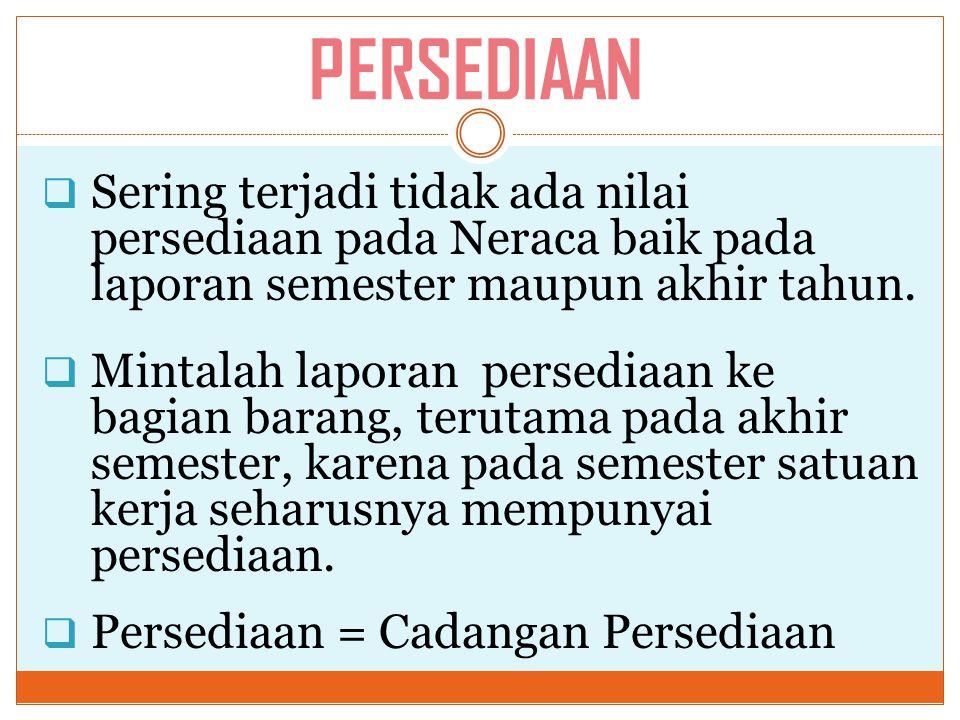 PERSEDIAAN  Sering terjadi tidak ada nilai persediaan pada Neraca baik pada laporan semester maupun akhir tahun.  Mintalah laporan persediaan ke bag