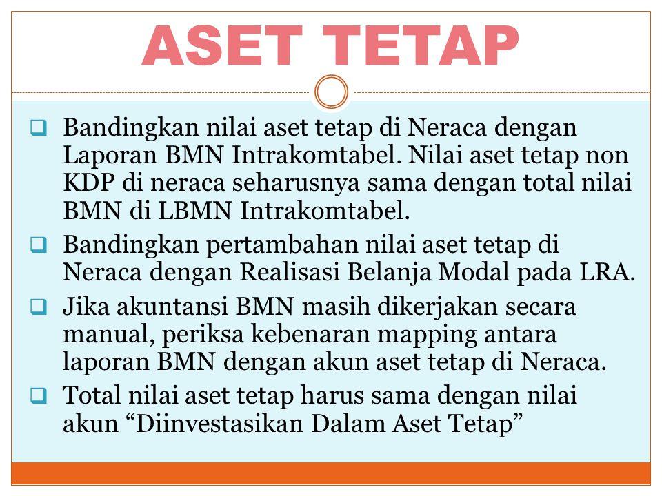 ASET TETAP  Bandingkan nilai aset tetap di Neraca dengan Laporan BMN Intrakomtabel. Nilai aset tetap non KDP di neraca seharusnya sama dengan total n