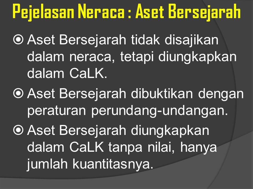 Pejelasan Neraca : Aset Bersejarah  Aset Bersejarah tidak disajikan dalam neraca, tetapi diungkapkan dalam CaLK.  Aset Bersejarah dibuktikan dengan