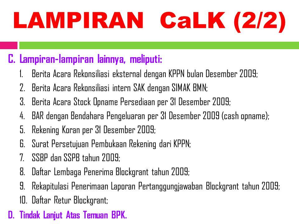 LAMPIRAN CaLK (2/2) C.Lampiran-lampiran lainnya, meliputi: 1.Berita Acara Rekonsiliasi eksternal dengan KPPN bulan Desember 2009; 2.Berita Acara Rekon