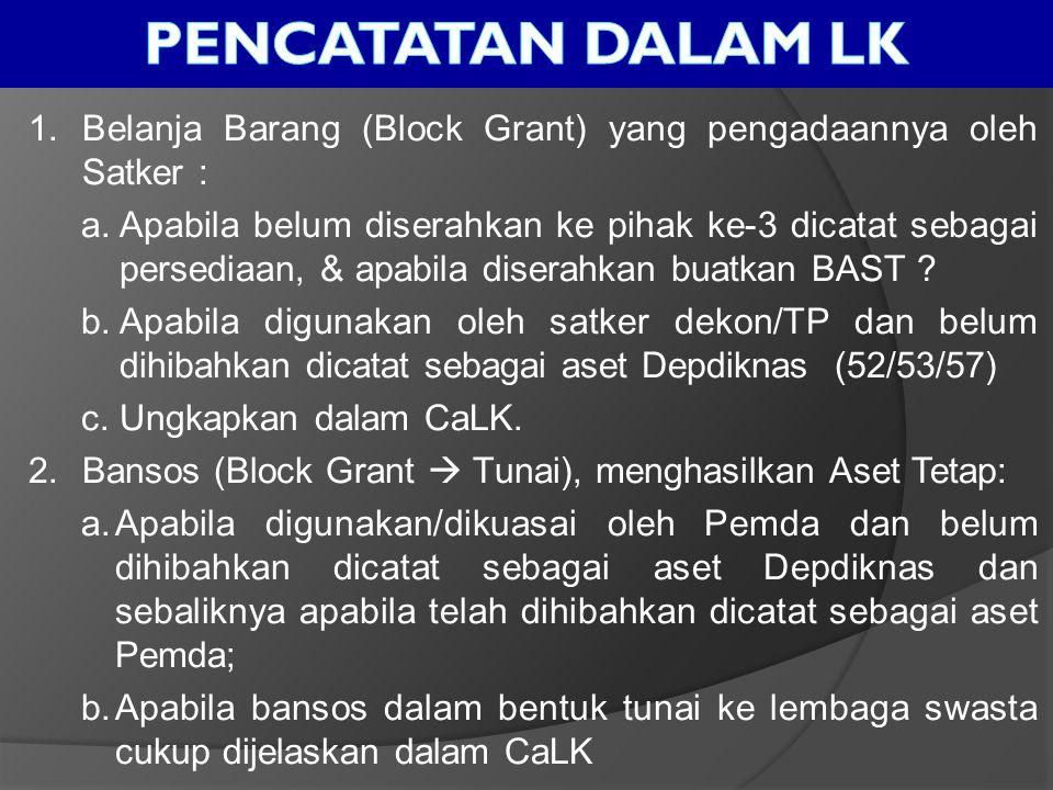 1.Belanja Barang (Block Grant) yang pengadaannya oleh Satker : a.Apabila belum diserahkan ke pihak ke-3 dicatat sebagai persediaan, & apabila diserahk