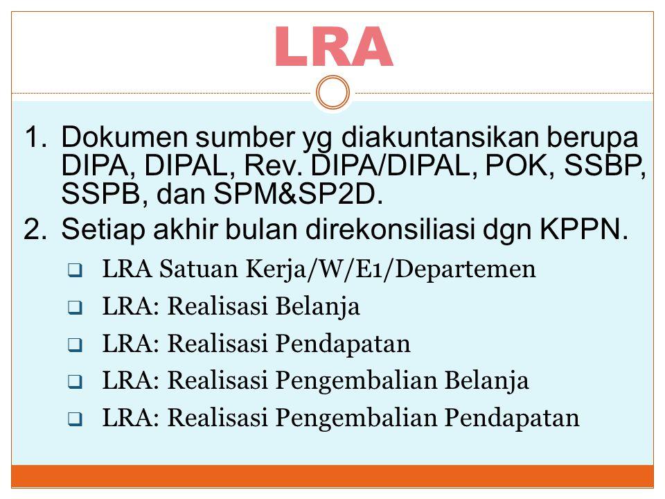 LRA 1.Dokumen sumber yg diakuntansikan berupa DIPA, DIPAL, Rev. DIPA/DIPAL, POK, SSBP, SSPB, dan SPM&SP2D. 2.Setiap akhir bulan direkonsiliasi dgn KPP
