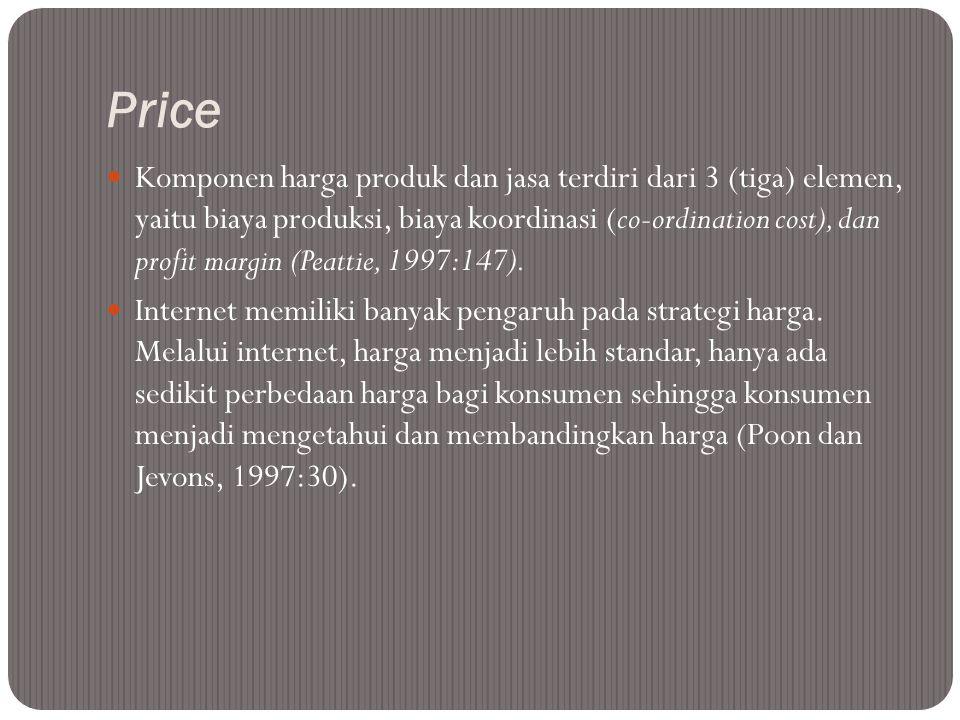 Price  Komponen harga produk dan jasa terdiri dari 3 (tiga) elemen, yaitu biaya produksi, biaya koordinasi (co-ordination cost), dan profit margin (P